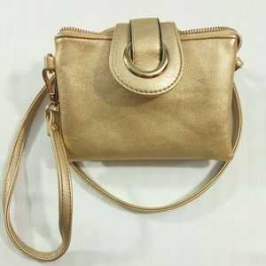 Charming Charlie Gold Multi Section Crossbody Mini